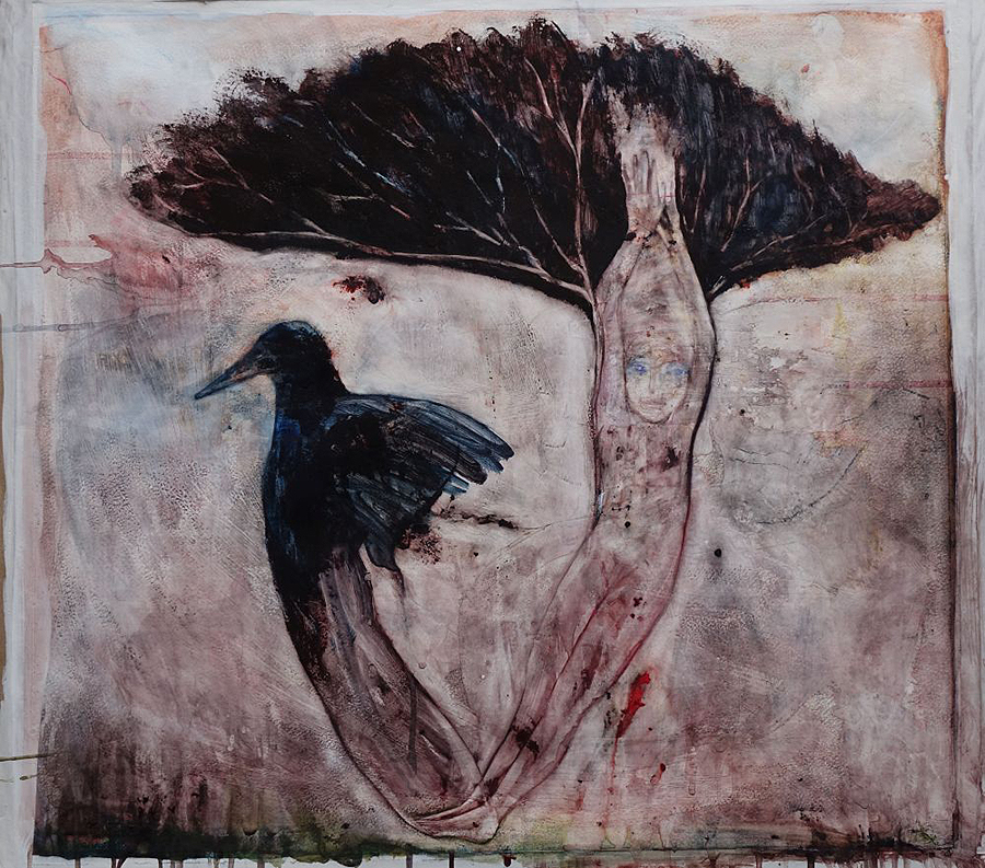 2 The Bird My Brother Watercolour on gesso-prepared   paper 58 x 53 cm for email