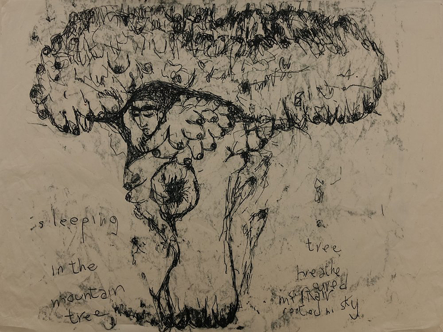 Sleeping in the Mountain Tree Monotype on Gampi paper 45 x 61 cm Kate Walters 2014